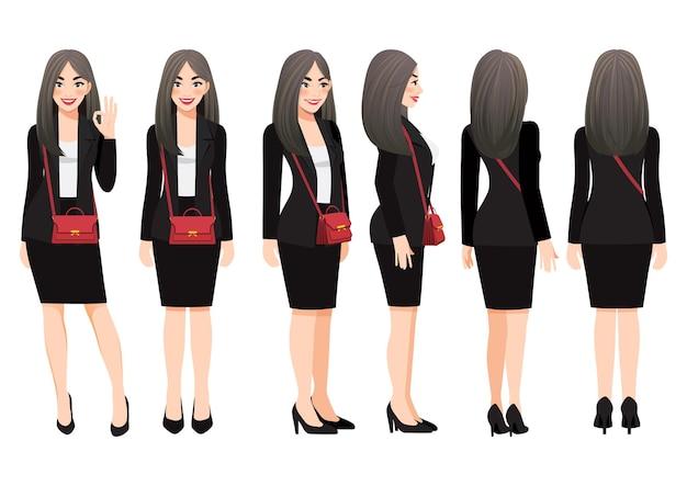 Raccolta di personaggio dei cartoni animati di donna d'affari