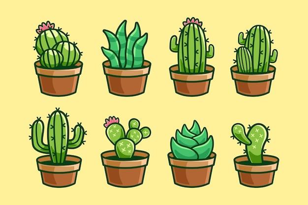 Collezione di cartoni animati di piante di cactus
