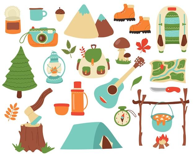 Raccolta di elementi da campeggio.
