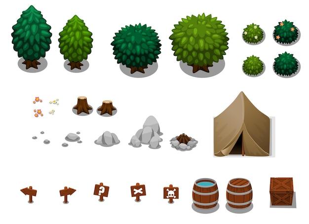 Collezione di oggetti da campeggio Vettore Premium