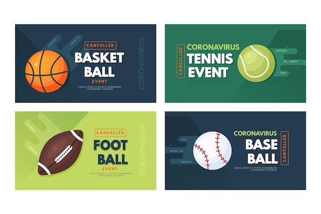 Raccolta di banner di eventi sportivi cancellati Vettore Premium
