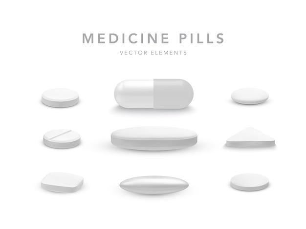 Collezione di compresse a forma di capsula isolato su bianco