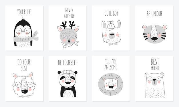 Collezione di carte simpatici animali disegnati a mano e slogan.