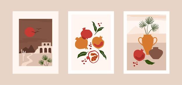 Collezione di carte con foglie, frutti e paesaggio