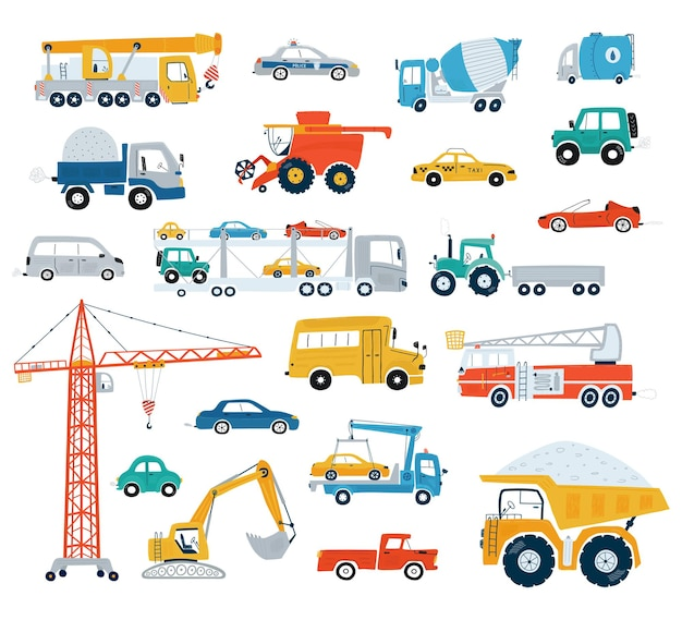 Collezione di automobili e veicoli da costruzione. auto carine per bambini in stile piatto su sfondo bianco.
