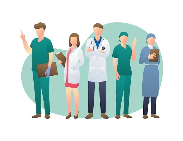 Raccolta di personaggi dei cartoni animati di medici, il concetto di team di personale medico illustrato Vettore Premium