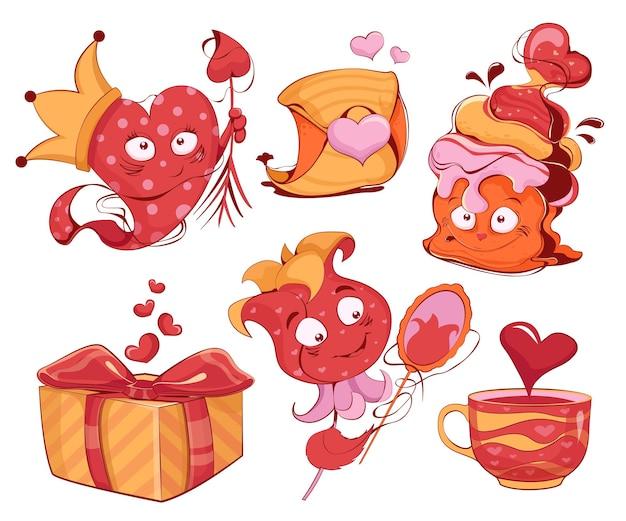 Collezione di personaggi dei cartoni animati a forma di cuore cupcake e fiore