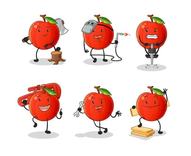 Raccolta di cartone animato cherry lavoratore