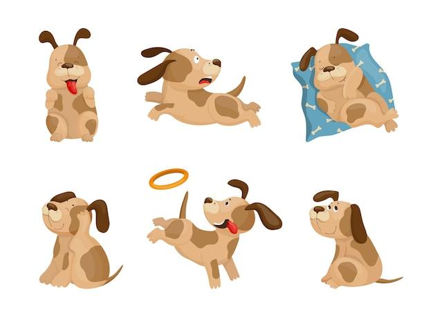 Raccolta di illustrazioni di cartoni animati con un cane