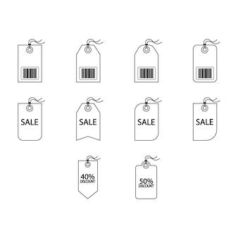 Raccolta di vettore dell'icona dei tag etichetta dei cartoni animati