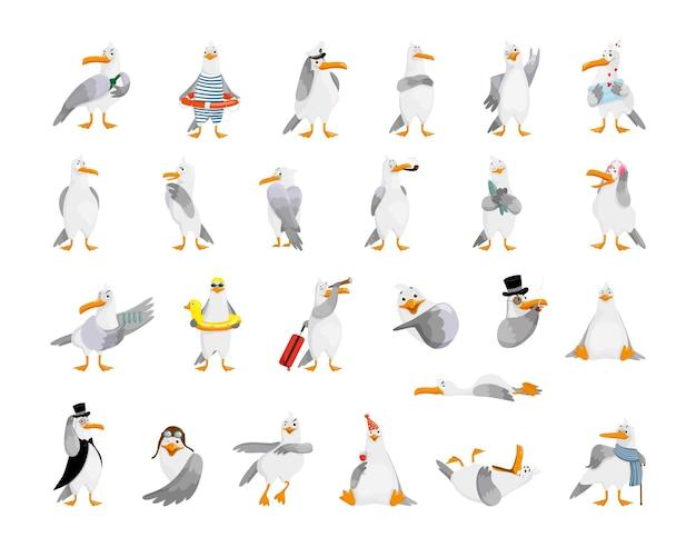 Collezione di gabbiani dei cartoni animati per creare adesivi, stampe, emoji.