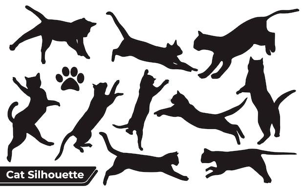 Collezione di gatti silhouette in diverse posizioni