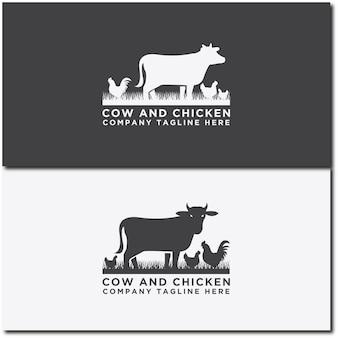 Collezione di bovini logo vettore mucca e pollo design