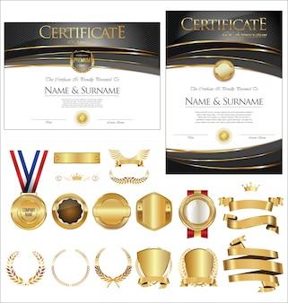 Collezione di badge certificati etichette scudi e allori