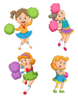 La collezione delle ragazze cheerleaders con le diverse pose dell'illustrazione