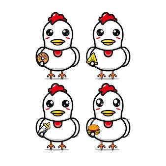 Collezione di insiemi di pollo che tengono cibo mascotte del personaggio dei cartoni animati di stile piano dell'illustrazione di vettore