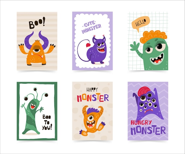 Collezione di poster per bambini con mostro divertente in stile cartone animato