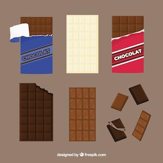 Collezione di barrette e pezzi di cioccolato