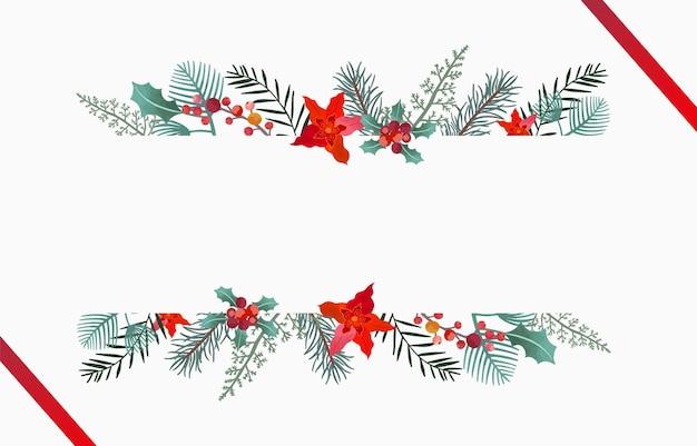 Raccolta di sfondo natalizio con foglie di agrifoglio, fiori. illustrazione vettoriale modificabile per invito di capodanno, cartolina e banner del sito web