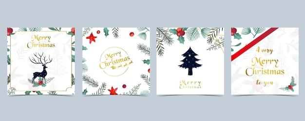 Raccolta di sfondo natalizio con foglie di agrifoglio, fiori, renne. illustrazione vettoriale modificabile per invito di capodanno, cartolina e banner del sito web