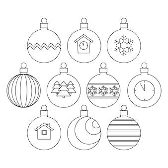 Raccolta di palle di natale, bianco e nero lineare. illustrazione.