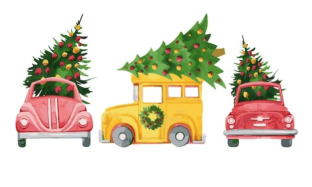 Collezione di automobili di natale con rami di pino