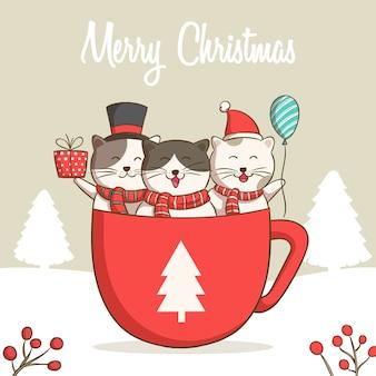 Collezione di gatti natalizi, illustrazioni di buon natale di simpatici gatti nella tazza di caffè o cioccolato