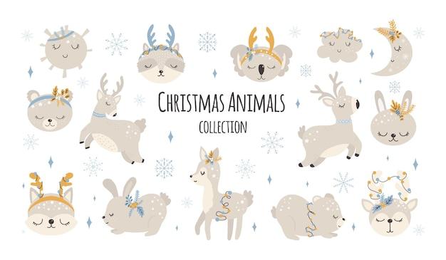 Raccolta di simpatici animali natalizi buon natale illustrazioni di coniglietto orso con accessori
