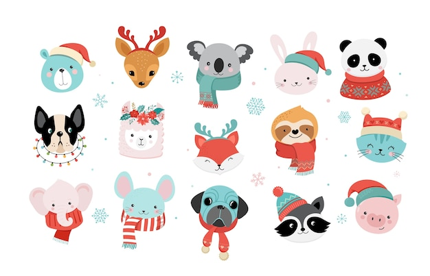 Raccolta di simpatici animali natalizi, illustrazioni di buon natale del panda