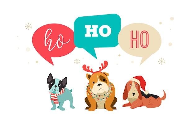 Collezione di cani natalizi, illustrazioni di buon natale di simpatici animali domestici con accessori come cappelli lavorati a maglia, maglioni, sciarpe