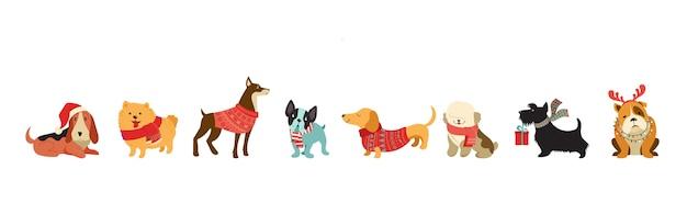 Collezione di cani di natale