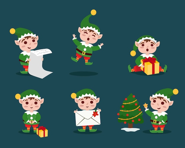 Collezione di elfi di natale