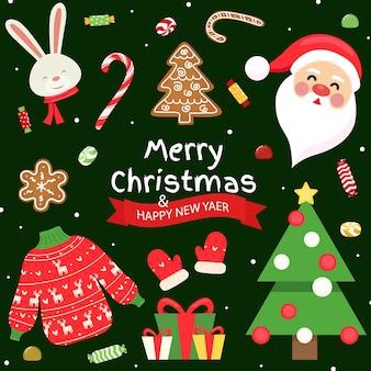 Collezione di oggetti ed elementi natalizi