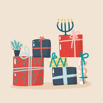 Raccolta di illustrazione di regali di natale