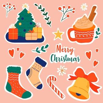 Collezione di adesivi natalizi. illustrazione vettoriale colorato in stile cartone animato piatto