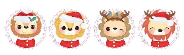 Collezione di leoni a tema natalizio