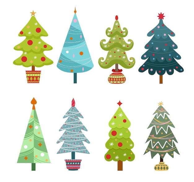 Collezione di alberi di natale, moderno design piatto. albero di simbolo tradizionale di natale e capodanno con ghirlande, lampadina, stella. per materiale stampato: volantini, poster, biglietti da visita o per il web.