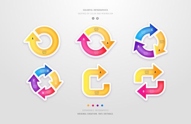 Raccolta di infografiche circolari con frecce colorate