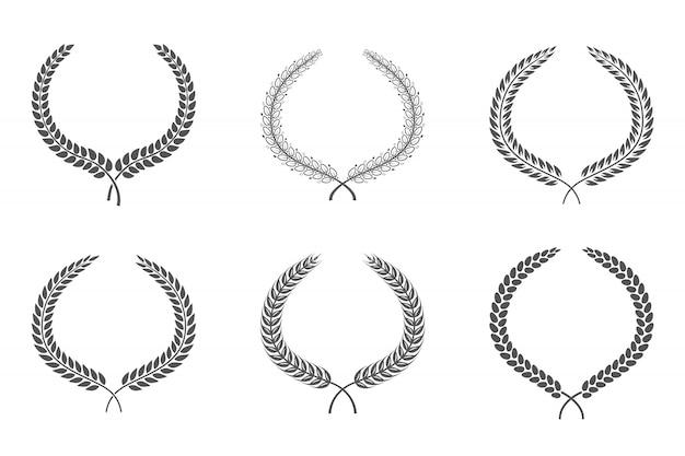 Collezione di silhouette circolare bianco alloro foliate raffigurante un premio, un successo, araldica, nobiltà.