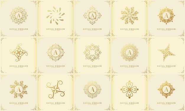 Una collezione di ornamento logo di lusso in stile classico