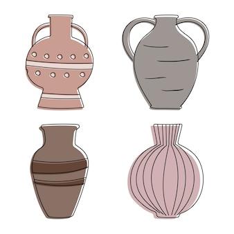 Collezione di vasi antichi del fumetto dell'argilla. attributi e oggetti di arredo, oggetti per la tavola del mondo antico. brocche di arte di linea con linee e cerchi.