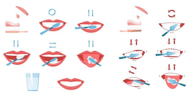 Raccolta di immagini di denti puliti