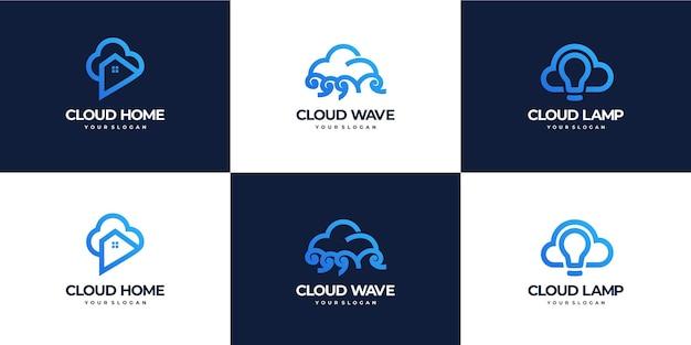 Raccolta di combinazioni di loghi cloud