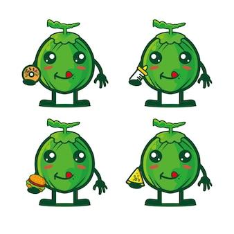 Collezione di cartoni animati di cocco in possesso di cibo illustrazione vettoriale personaggio dei cartoni animati in stile piatto
