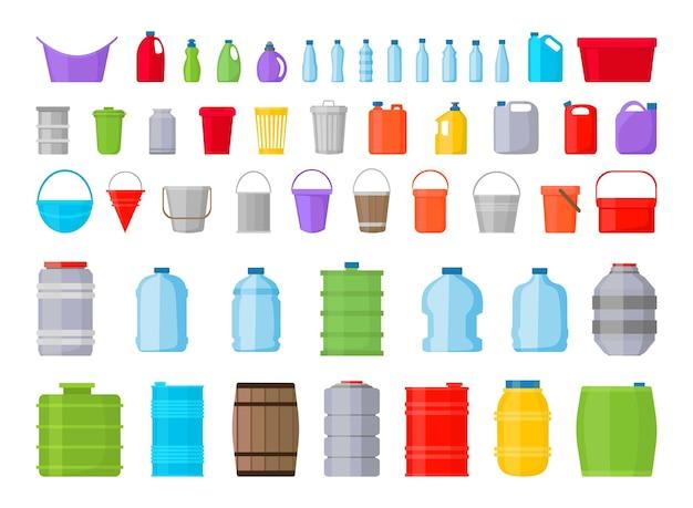 Collezione di contenitori colorati.