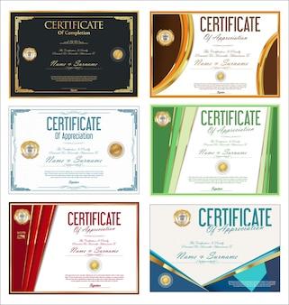 Collezione di certificati colorati o modelli di design retrò diploma