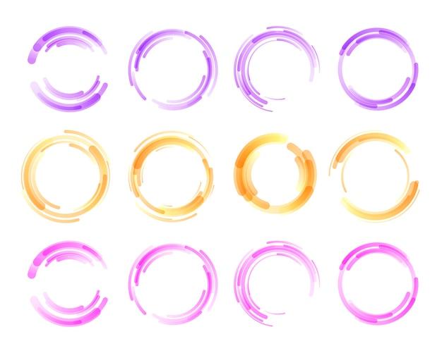 Raccolta di cerchio colorato isolato su bianco