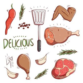Raccolta di doodle colorato illustrazione di carne o bistecca con erbe aromatiche