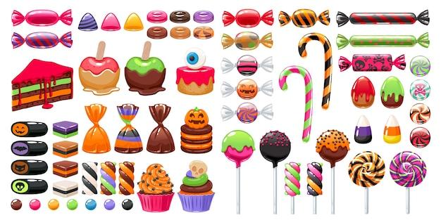 Raccolta di coloratissimi dolci di halloween Vettore Premium