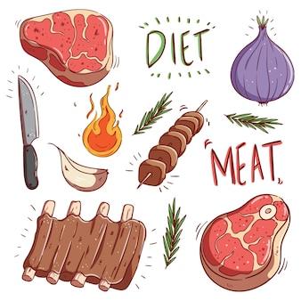 Raccolta di carne cruda colorata e bistecca con doodle o stile di tiraggio della mano